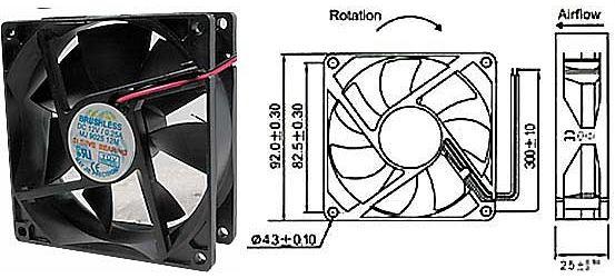 Ventilátor 92x92x25mm 12V/0,2A 2800 ot/min