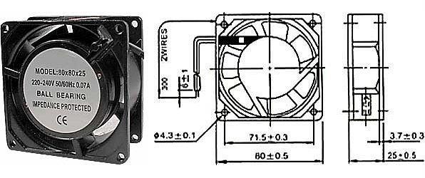 Ventilátor 80x80x25mm 230V/0,07A 2350 ot/min
