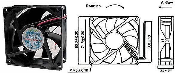 Ventilátor 80x80x25mm 24V/0,13A 3000 ot/min