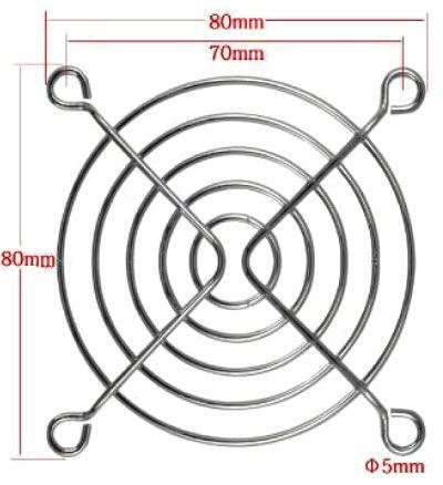 Mřížka ventilátoru 80x80mm kovová