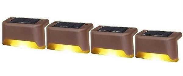 Solární světlo na schody, zídky nebo zábradlí, sada 4ks