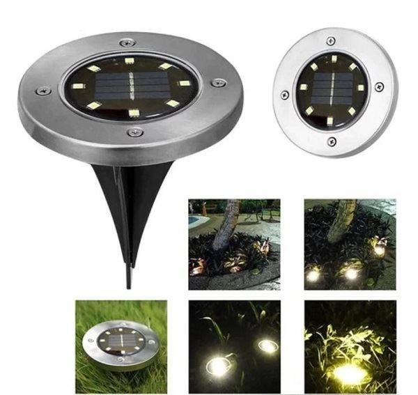 Solární zahradní světlo zapichovací, 8 LED, sada 4ks