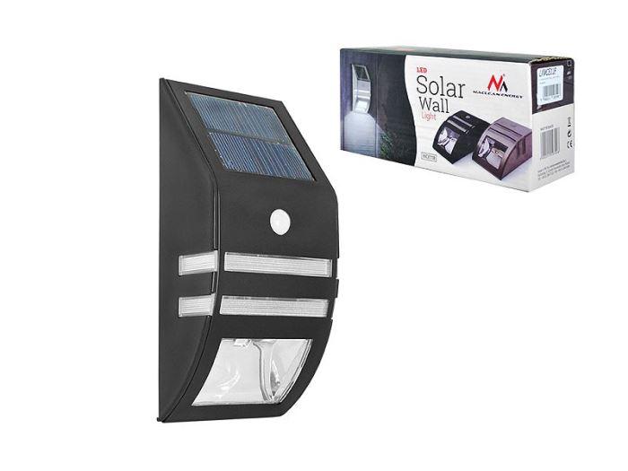 Solární nástěnné svítidlo s čidlem PIR, černé