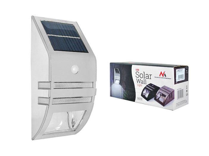 Solární nástěnné svítidlo s čidlem PIR, stříbrné