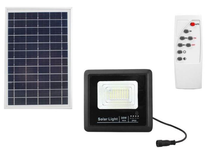 Solární nástěnné svítidlo 30W s dálkovým ovládačem