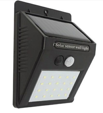Solární nástěnné svítidlo s čidlem PIR, 20 x LED