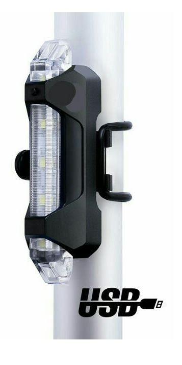 Svítilna na kolo přední, 5xLED, 15lm, USB, nabíjecí, bílá