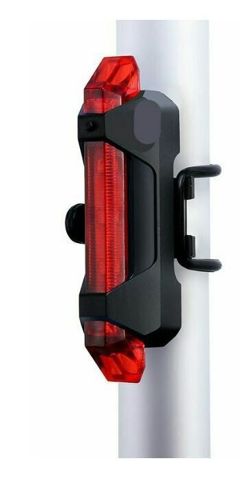 Svítilna na kolo zadní, 5xLED, 15lm, USB, nabíjecí, červená