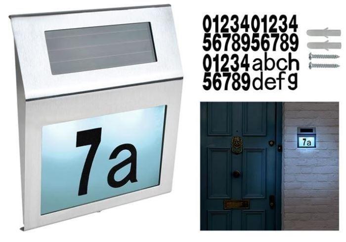 Solární svítidlo nastěnné pro osvětlení domovního čísla EKO