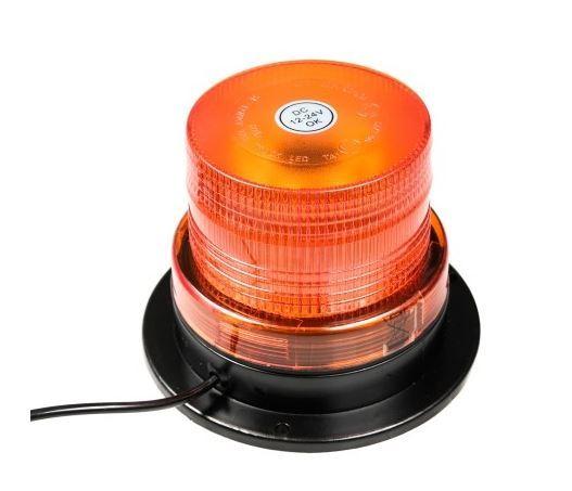 Oranžový výstražný magnetický maják  LED 12-24V - kulatý, ECE R10
