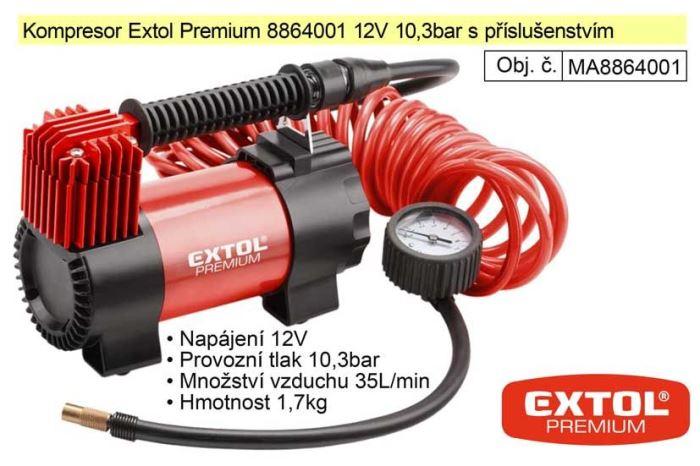 Kompresor 12V Extol Premium, max10,3Bar,35l/min DOPRODEJ