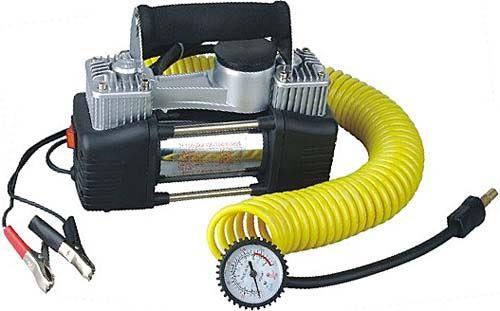 Kompresor 12V 2pístový + spirál.hadice 8m,10Bar,60l/min