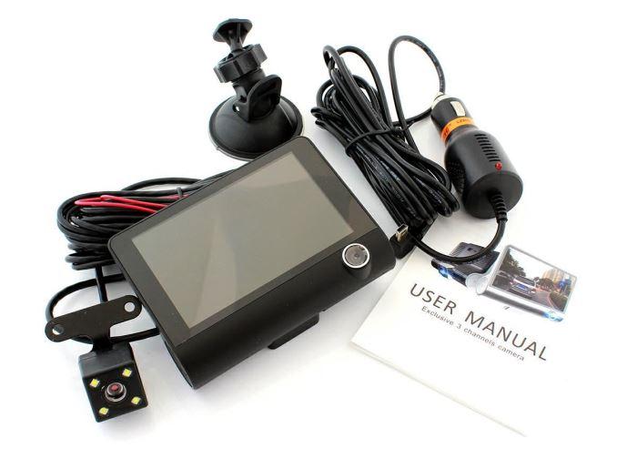 Parkovací kamera s monitorem a možnosti nahrávaní, 3x kamera