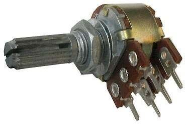 10k/G, hřídel 6x8mm, potenciometr otočný tandemový