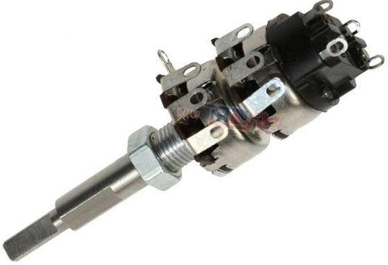 50k/N+100k/N WN69320, potenciometr otočný dvojitý s vypínačem