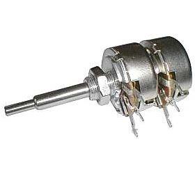 100k/V  TP286 25A, potenciometr otočný dvojitý, logaritmický
