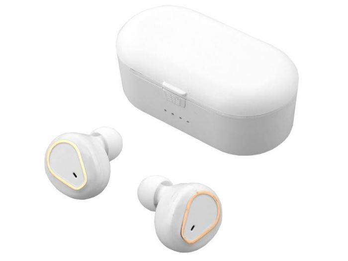 Bluetooth bezdrátová sluchátka bílé, magnetické dobíjení