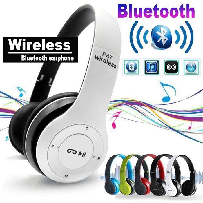 Bluetooth bezdrátová sluchátka P47 bílé