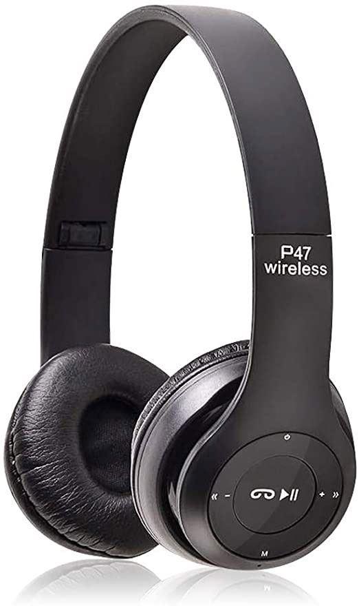 Bluetooth bezdrátová sluchátka P47 černé