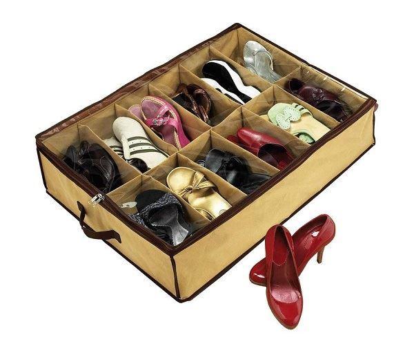 Organizér na obuv - 12 přihrádek, béžový