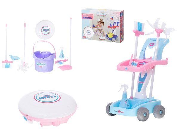 Dětský uklízecí vozík s robotickým vysavačem