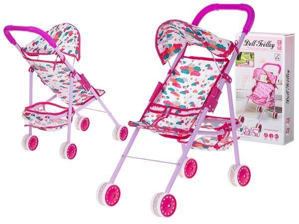 Kočárek pro panenky hole, růžový
