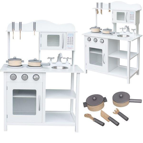 Dětská kuchyňka dřevěná s příslušenstvím, 85cm, bílá