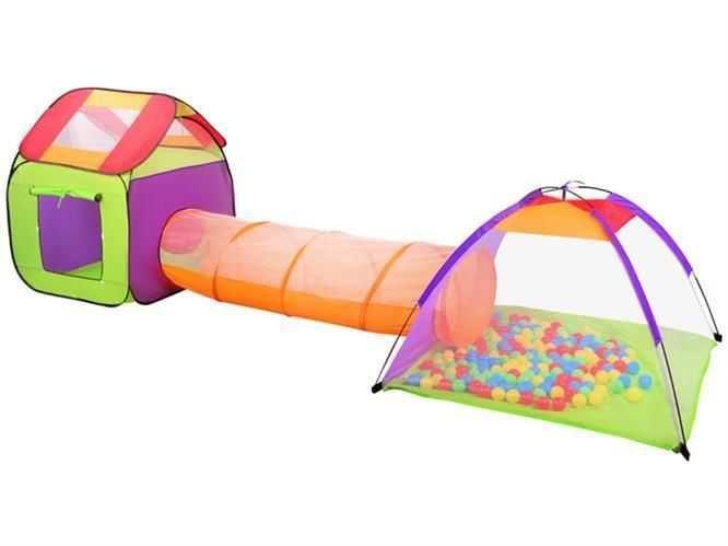 Dětský stanový set se spojovacím tunelem + 200 míčků, MALATEC