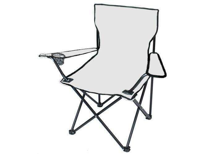 Kempingová židle skládací - rybářské křesílko, barva šedá