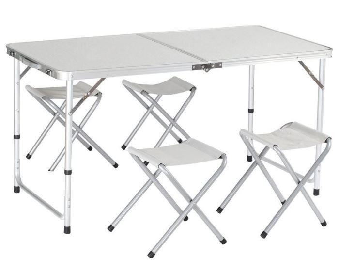 Kempingový hliníkový skládací stůl + 4 židle