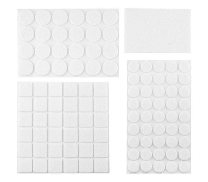 Podložky filcové samolepící, bílé, 92 ks