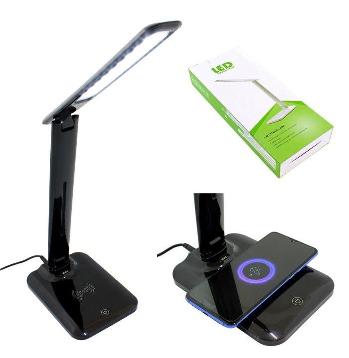 Stolní LED lampa s bezdrátovým nabíjením, stmívatelná, černá