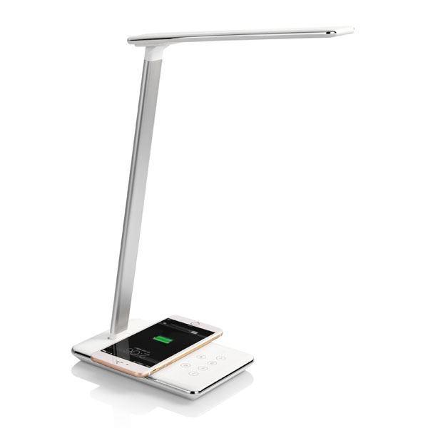 Stolní LED lampa s bezdrátovým nabíjením, stmívatelná, bílá
