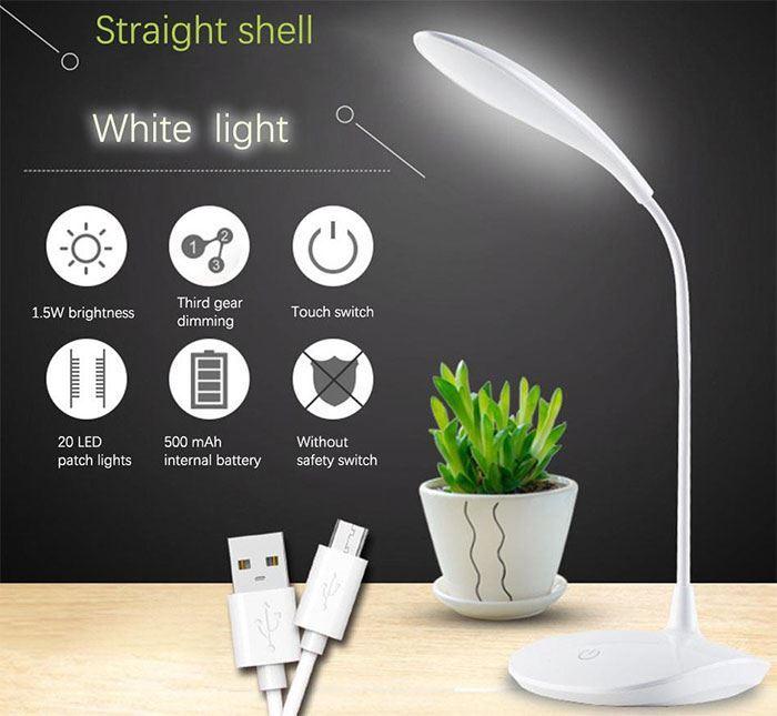 Stolní lampa LED WS-601, nabíjecí, napájení USB
