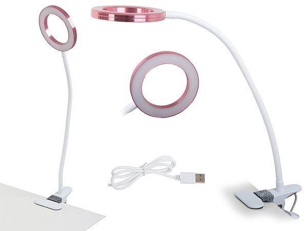 Lampa s klipem USB 24 LED bílo růžová