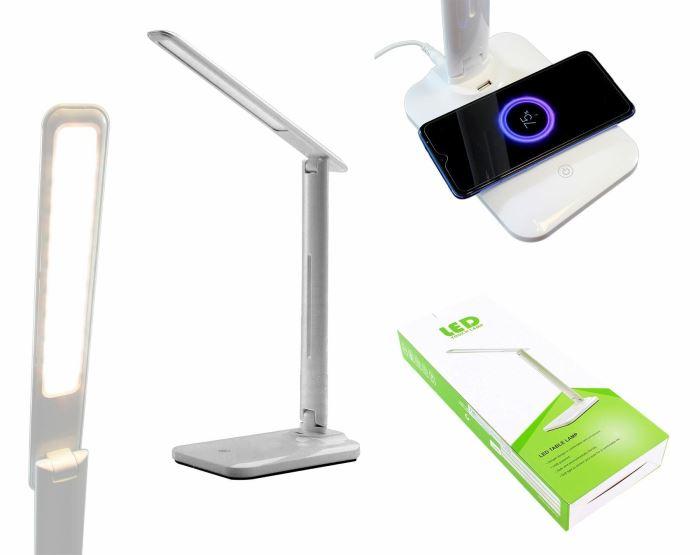 LED stmívatelná lampička s QI nabíjením bílá
