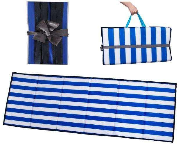 Skládací rohož na kempování, pláž 205 x 70 x 2 cm modrobílá