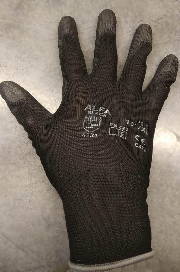 Pracovní rukavice bezešvé s PU dlaní - velikost 10, černé