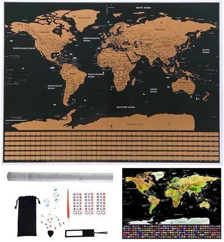 Stírací mapa světa 85x59cm