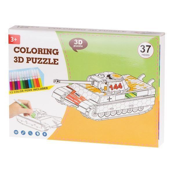 Papírové 3D puzzle s barvičkami - Tank 37 dílů