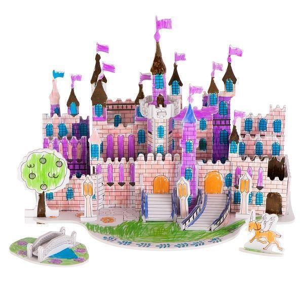 Papírové 3D puzzle s barvičkami- Zámek 38 dílů