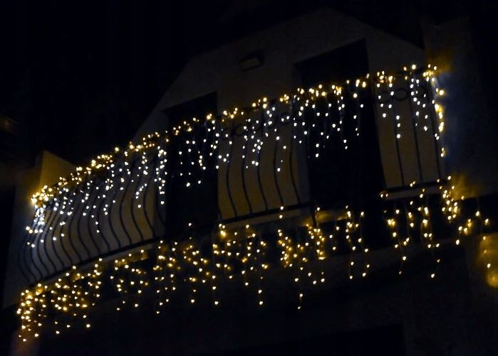 Vánoční světelný závěs 500 LED, 3,72W teplá bílá 23m