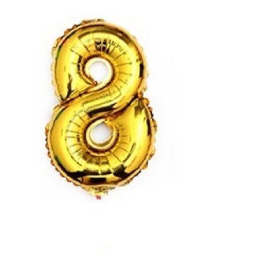 Balón foliové číslo- 8, cca 76cm, zlatý
