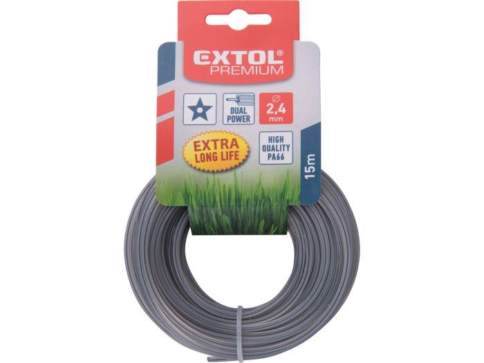 Žací struna do sekačky s jádrem, čtvercový profil, 2,4mm, 15m, EXTOL