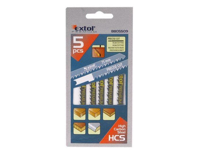 Plátky do přímočaré pily 5ks, 75x4,0mm, HCS, EXTOL PREMIUM, 8805509