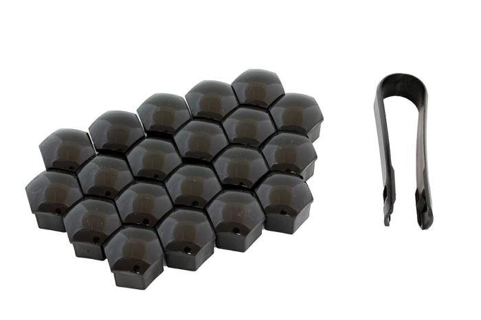 Kryty šroubů kol 17mm, 20ks, černé