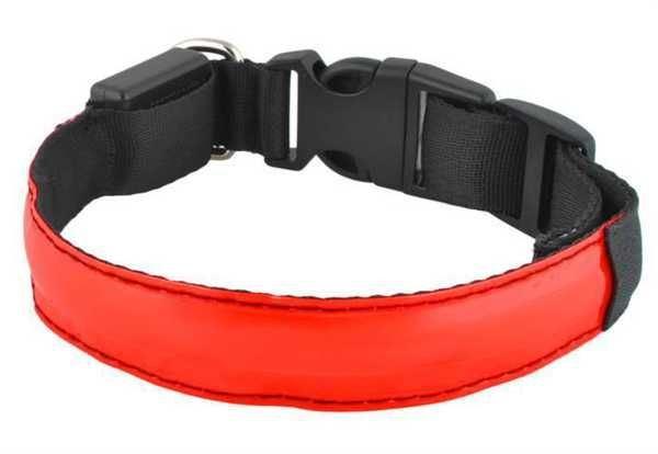 Svítící obojek pro psy, pásek pro chodce a cyklisty, červený vel.M
