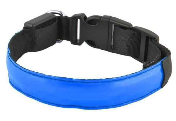 Svítící obojek pro psy, pásek pro chodce a cyklisty, modrý vel.M