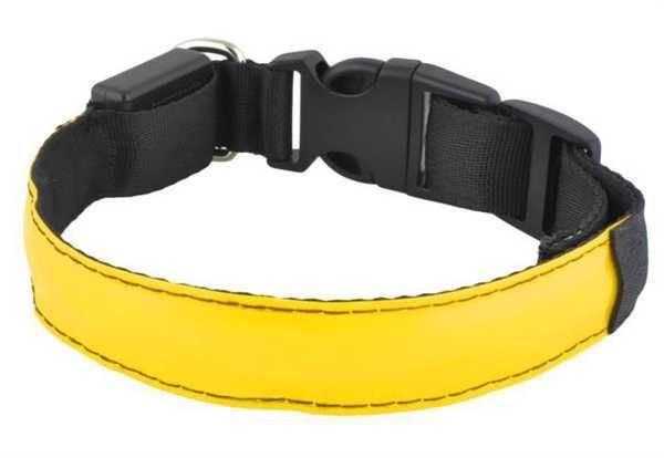 Svítící obojek pro psy, pásek pro chodce a cyklisty, žlutý vel.M