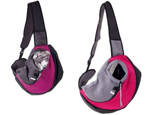 Přepravní batoh přes rameno pro psy, kočky- rozměr: 48x 29cm, růžový